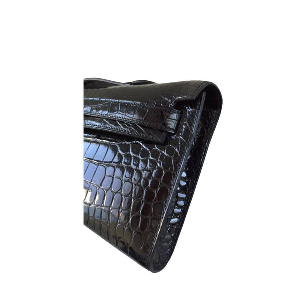 Hermes Kelly Cut Crocodile Black New side