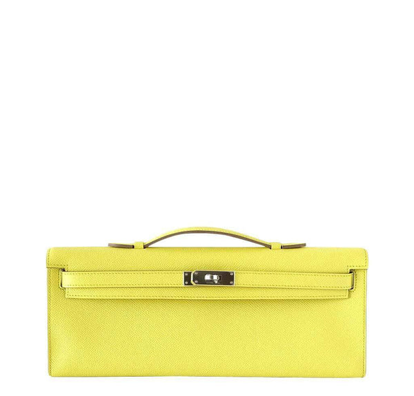 Hermes Kelly Cut Clutch Lime Bag