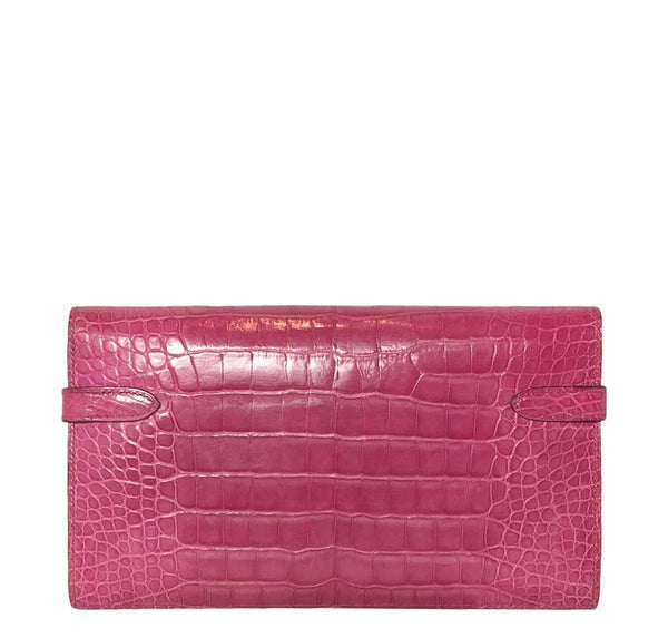 Hermes Kelly Long Wallet Clutch Fuschia Crocodile Used Back