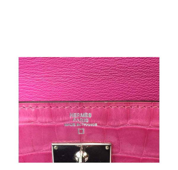 Hermes Kelly Long Wallet Clutch Fuschia Crocodile Used Embossing