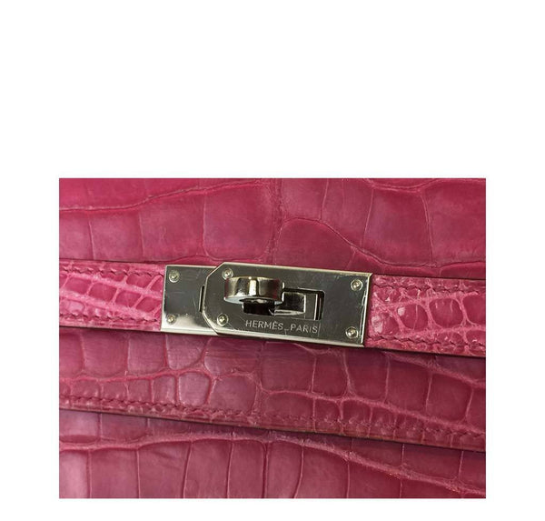Hermes Kelly Long Wallet Clutch Fuschia Crocodile Used Engraving