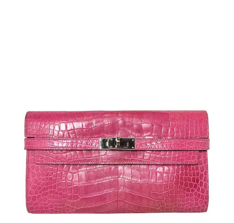 Hermes Kelly Long Wallet Crocodile Bag