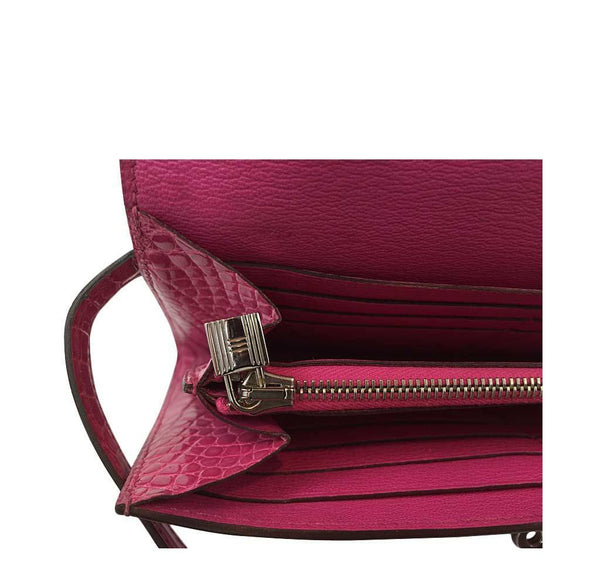 Hermes Kelly Long Wallet Clutch Fuschia Crocodile Used Lock