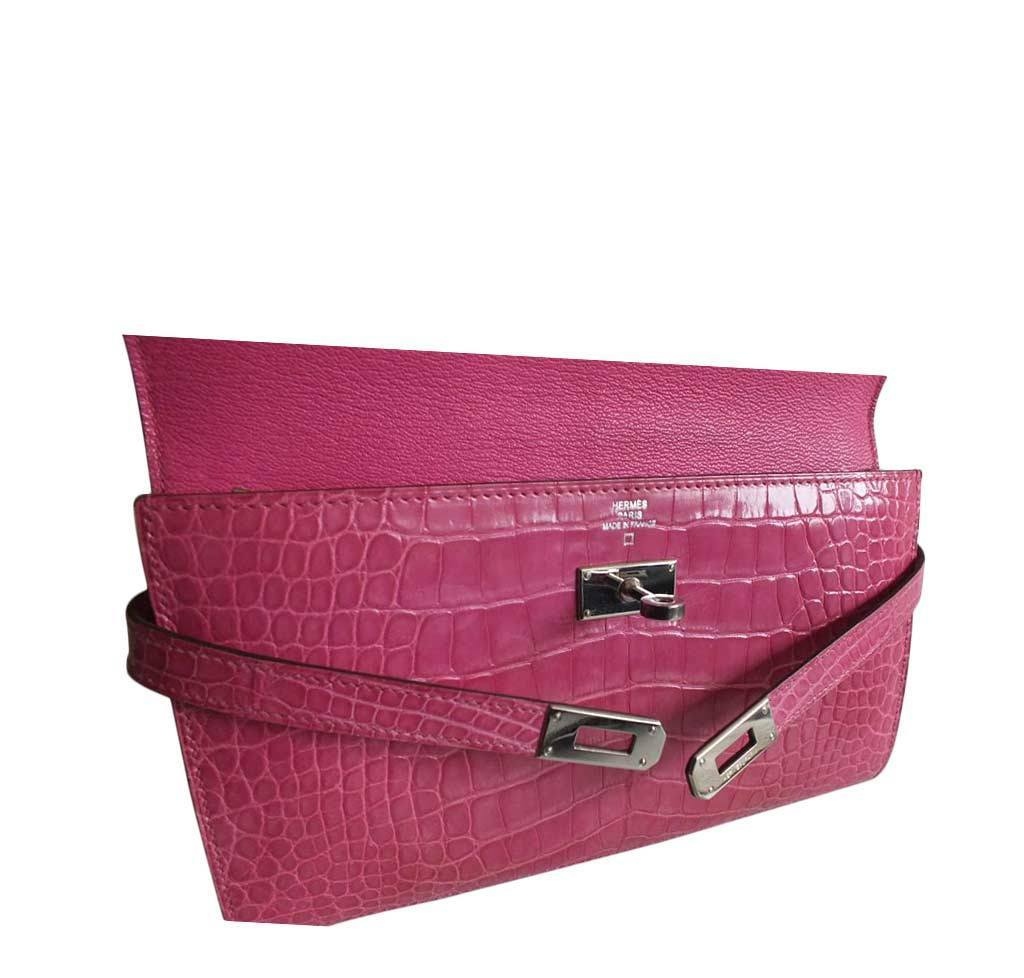 hermes leather - Hermes Kelly Long Wallet Clutch Fuschia Crocodile Bag | Baghunter