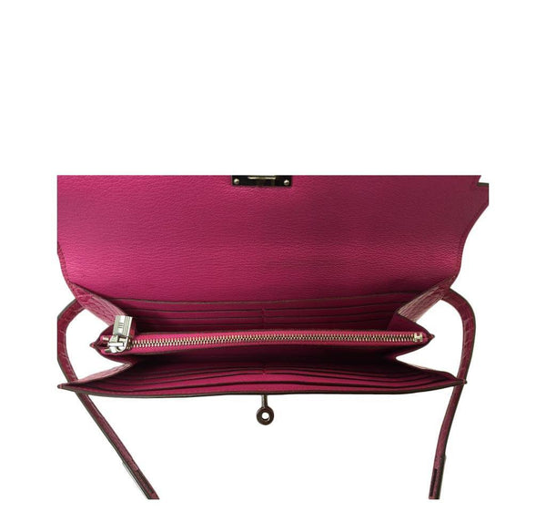 Hermes Kelly Long Wallet Clutch Fuschia Crocodile Used Open