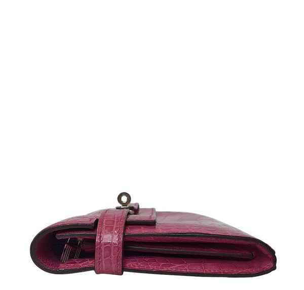 Hermes Kelly Long Wallet Clutch Fuschia Crocodile Used Side
