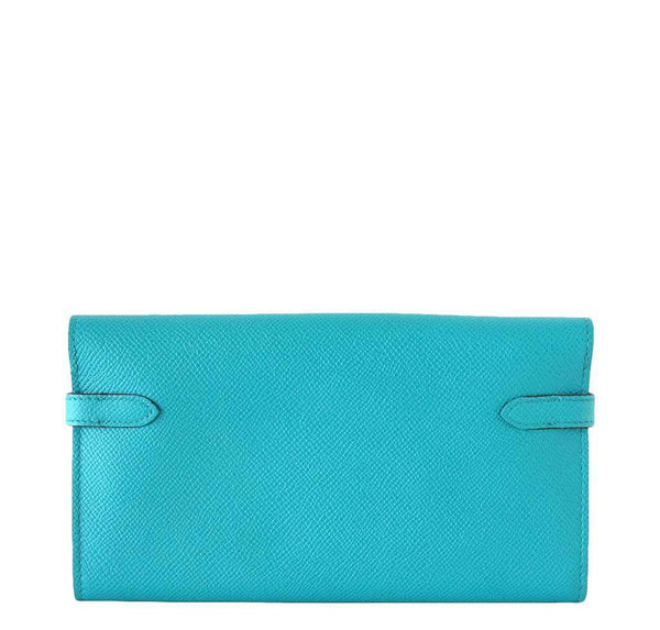 Hermes Kelly Long Wallet Clutch Paon New Back