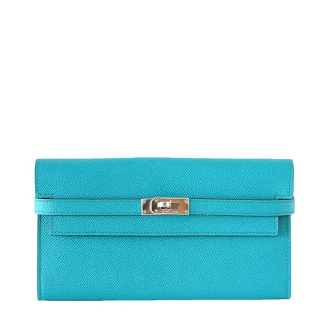 Hermes Kelly Long Wallet Clutch Paon