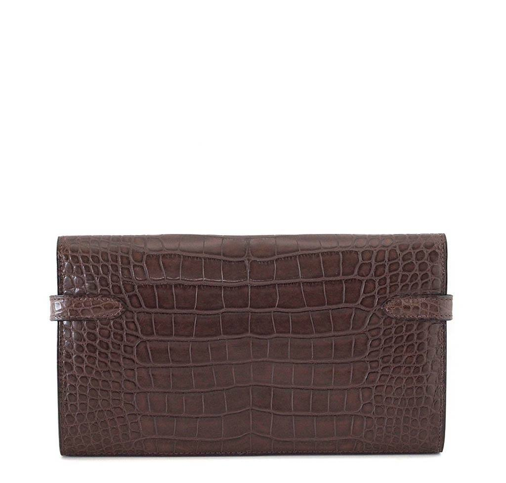 b55add5743e5 Hermes Kelly Wallet Clutch Bag Alligator Hermes Kelly Long Wallet Havanne  Used Back ...
