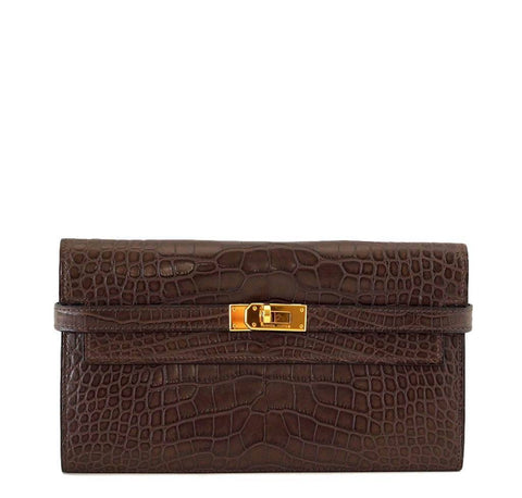 Hermes Kelly Wallet Clutch Bag Alligator