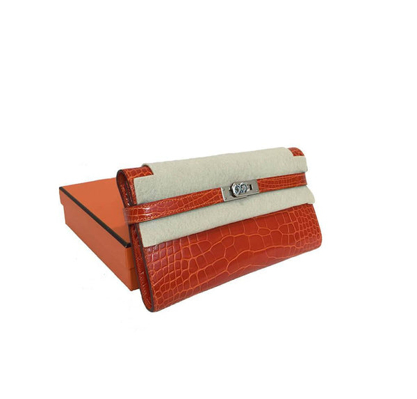 Hermes Kelly Long Wallet Orange Used Overview