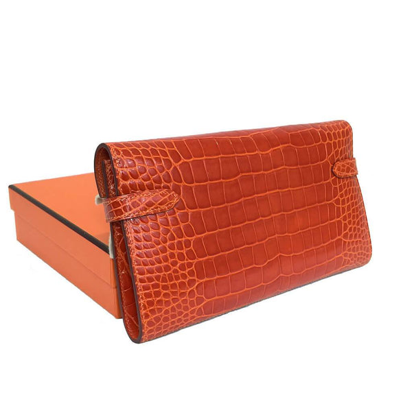 Hermes Kelly Long Wallet Orange Used Back Overview