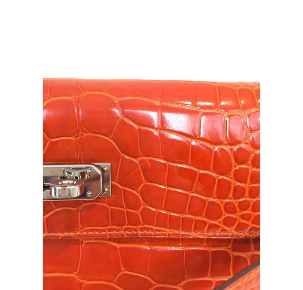 Hermes Kelly Long Wallet Orange Used Detail