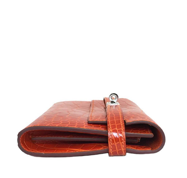 Hermes Kelly Long Wallet Orange Used Side