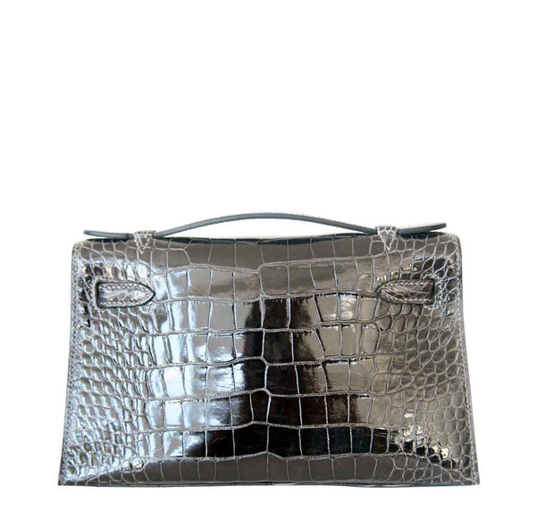 Hermes Kelly Mini Pochette Alligator Graphite New Back