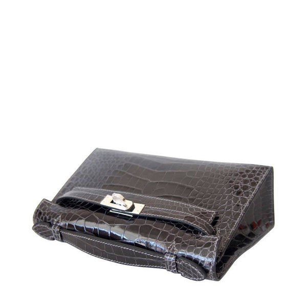 Hermes Kelly Mini Pochette Alligator Graphite New Flat