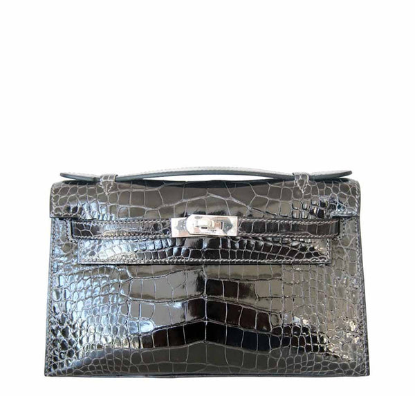 Hermes Alligator Kelly Pochette Graphite Bag