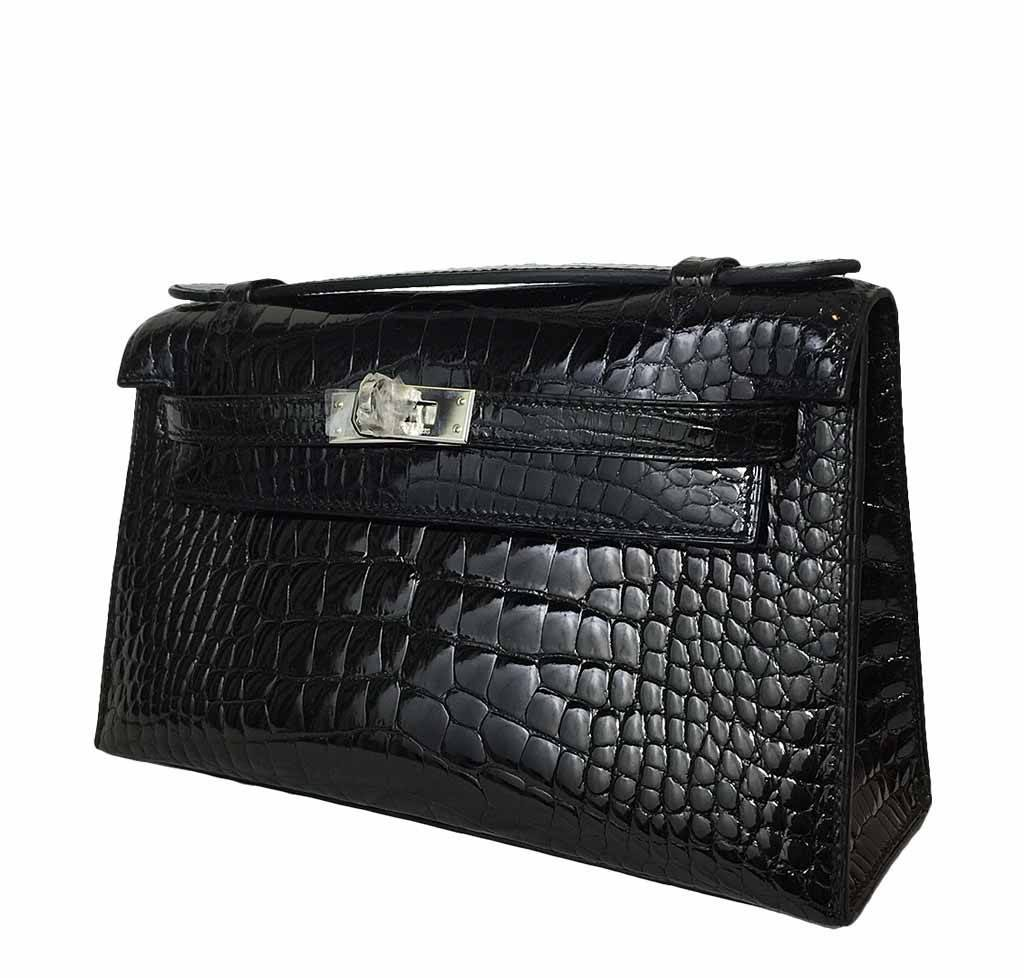 hermes mini porosus crocodile jige clutch