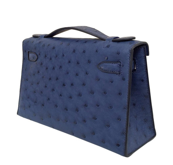 Hermes Kelly Mini Pochette Ostrich Blue Sapphire Used back side