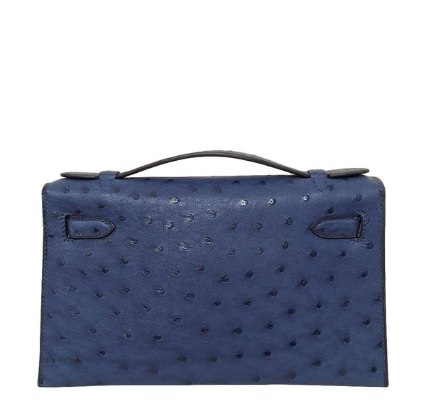Hermes Kelly Mini Pochette Ostrich Blue Sapphire Used back