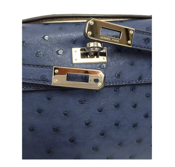 Hermes Kelly Mini Pochette Ostrich Blue Sapphire Used engraving