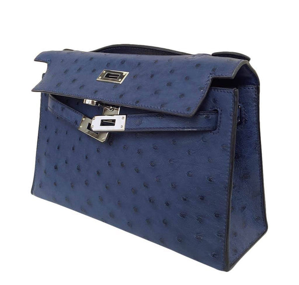 Hermes Kelly Mini Pochette Ostrich Blue Sapphire Used open side