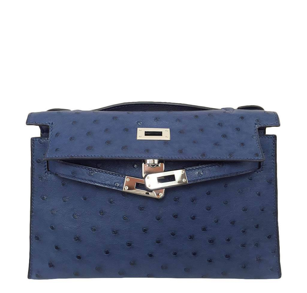 c206b204ecf ... Hermes Kelly Mini Pochette Ostrich Blue Sapphire Used Open ...