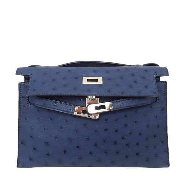 Hermes Kelly Mini Pochette Ostrich Blue Sapphire Used Open