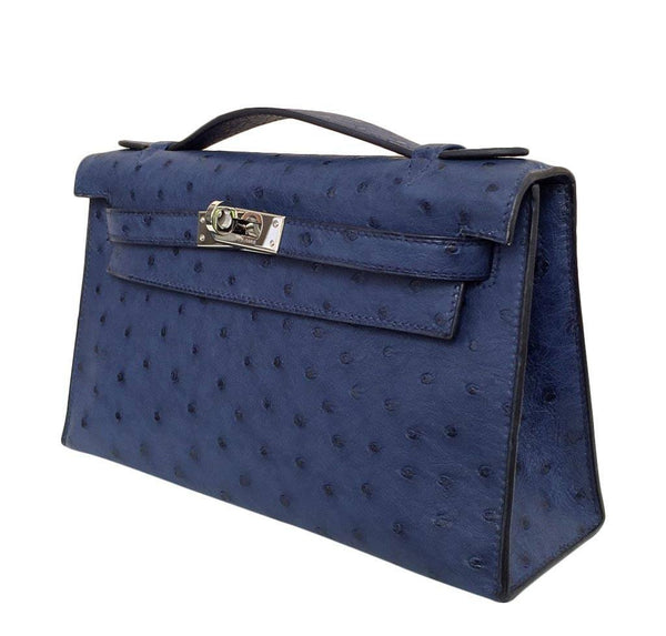 Hermes Kelly Mini Pochette Ostrich Blue Sapphire Used Front