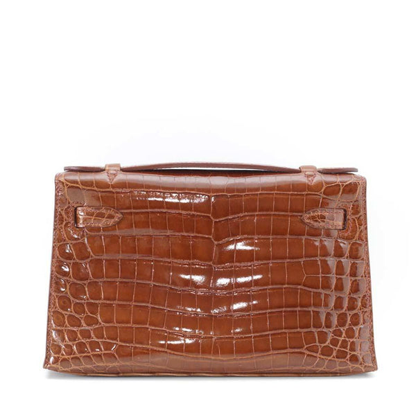 Hermes Kelly Pochette Crocodile Miel New Back
