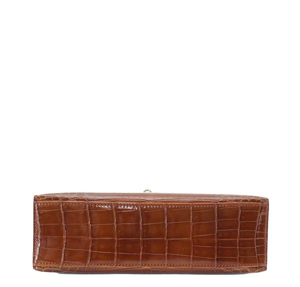 Hermes Kelly Pochette Crocodile Miel New Bottom