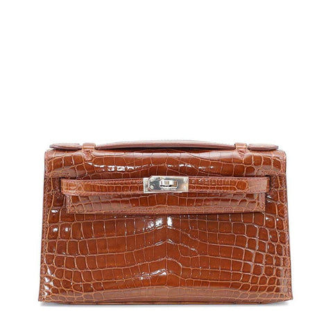 Hermes Kelly Pochette Crocodile Miel Bag