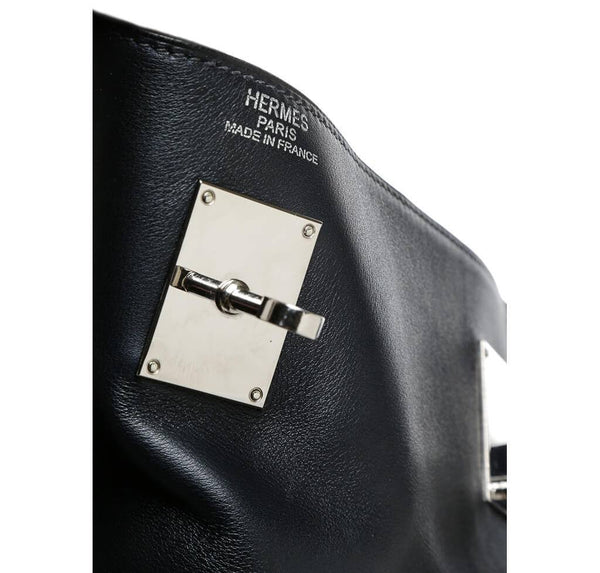 Hermes Kelly Relax Travel Black Used Engraving