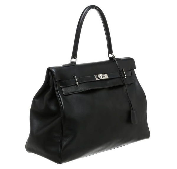 Hermes Kelly Relax Travel Black Used Side