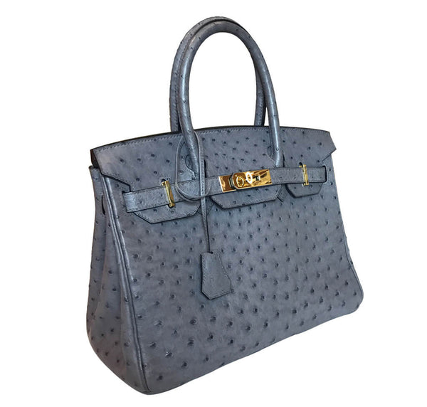 Hermes Gris Agate Ostrich Birkin gold excellent side right