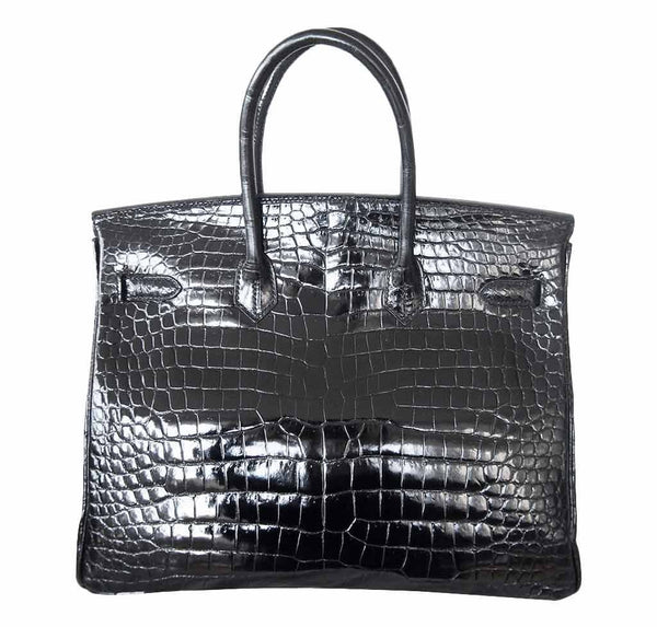 Hermes birkin 35 black porosus crocodile new back