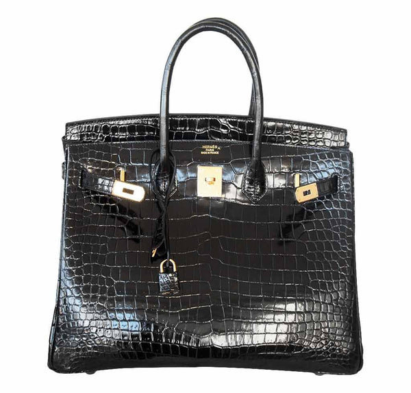 Hermes birkin 35 black porosus crocodile new open