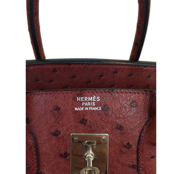 Hermes Birkin 35 Ostrich Rouge H Used Embossing