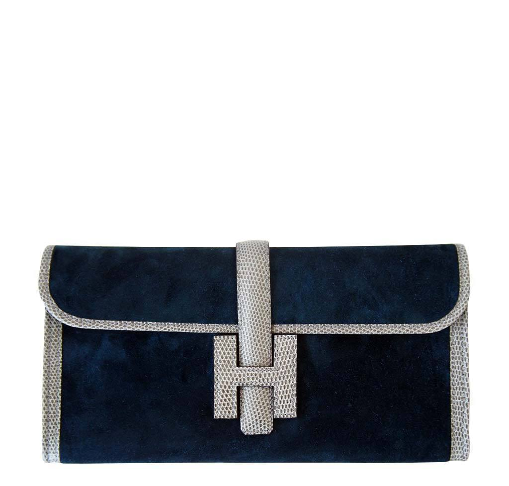 82df8718002b Hermès Jige 29 Blue Suede Lizard Bag