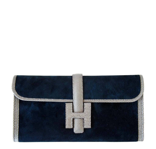 Hermes Jige Blue Suede Lizard Bag