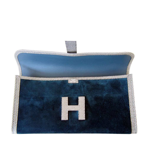Hermes jige elan 29 blue suede lizard new open