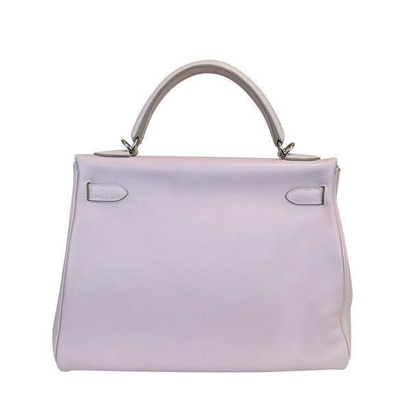 Hermes Kelly 32 Rose Dragee Used Back