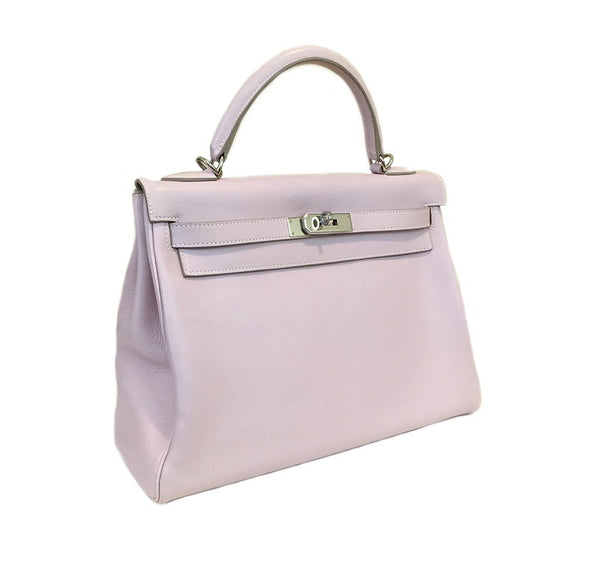 Hermes Kelly 32 Rose Dragee Used Side