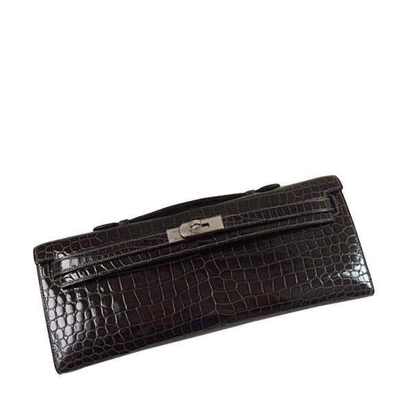 Hermes Kelly Cut Crocodile Graphite Bag