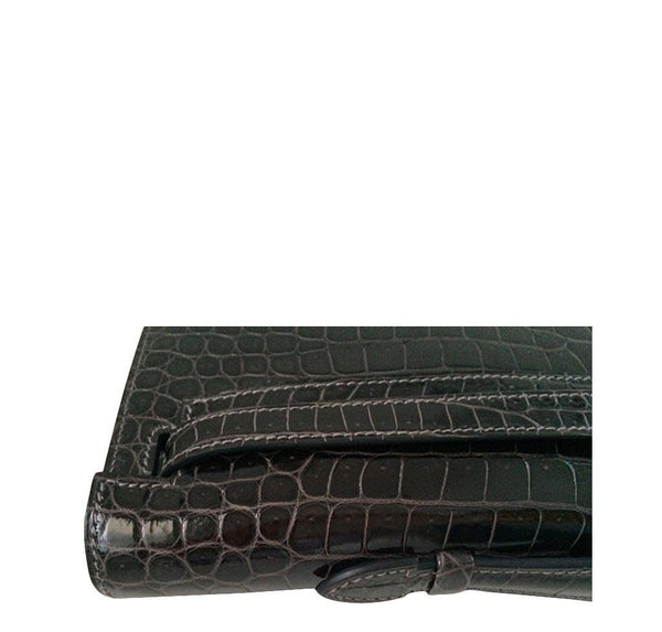 Hermes kelly cut croc graphite new top