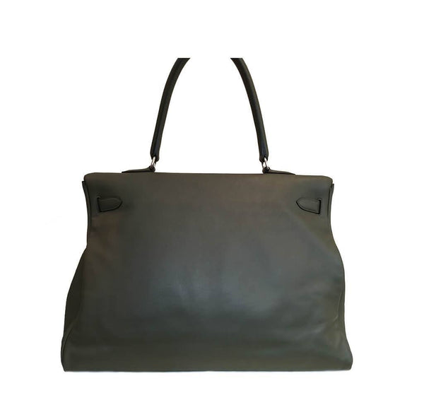 Hermes Kelly Travel 50 Vert De Gris Used Back