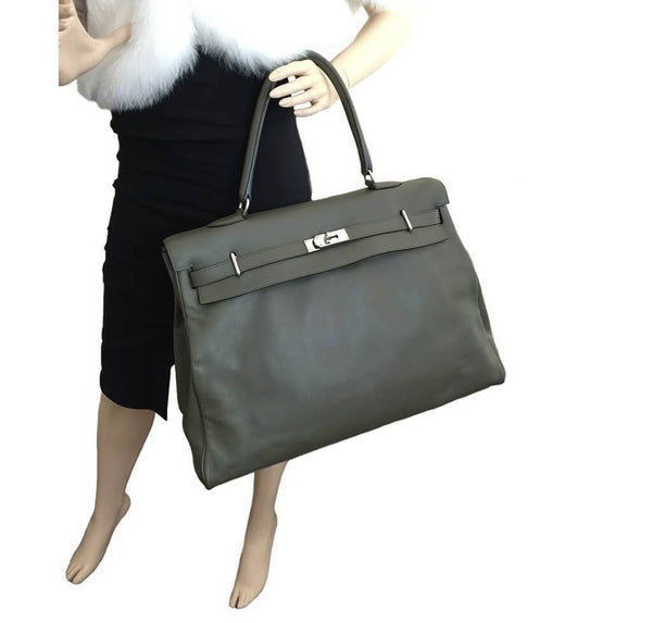 Hermes Kelly Travel 50 Vert De Gris Used Overview