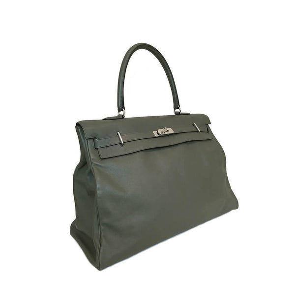 Hermes Kelly Travel 50 Vert De Gris Used Side