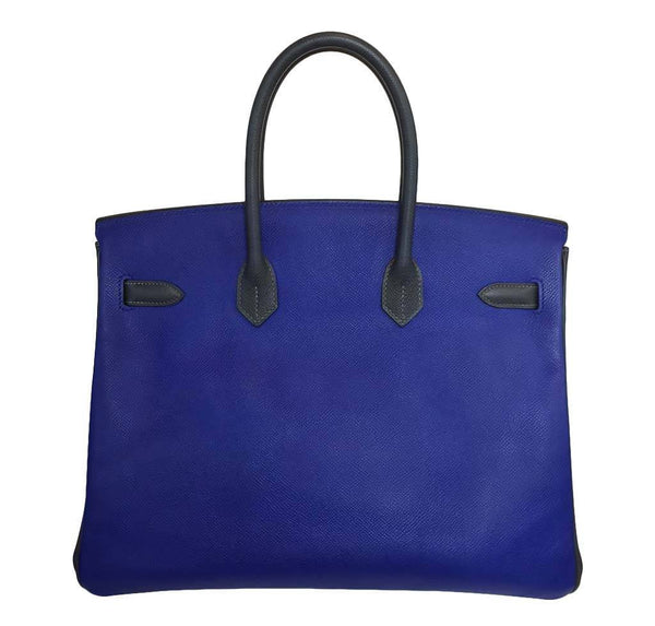 Hermes special order horseshoe birkin blue white graphite used back