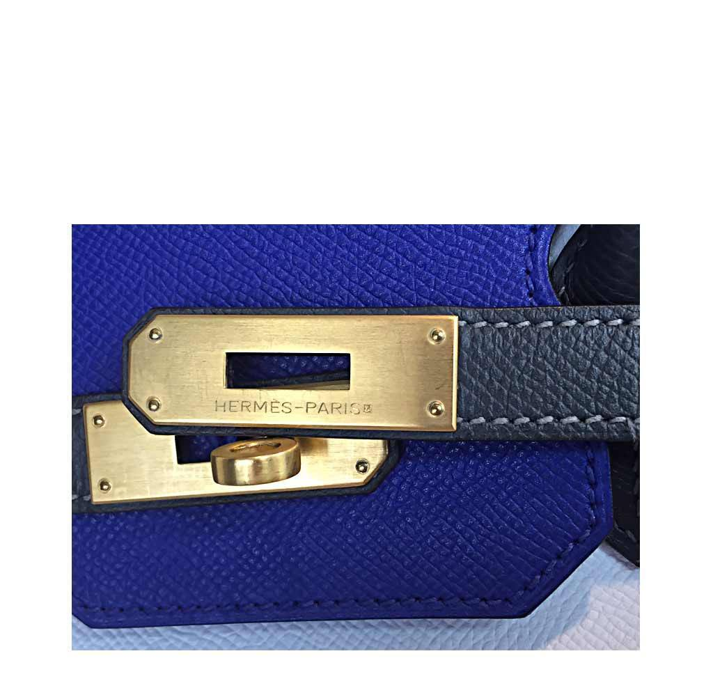 5a14994fce ... Hermes special order horseshoe birkin blue white graphite used  engraving ...
